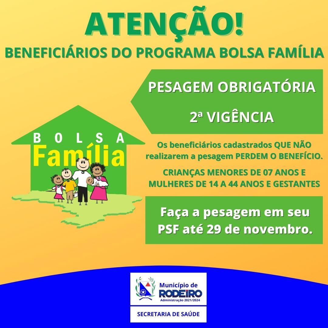 PESAGEM OBRIGATÓRIA PARA OS BENEFICIÁRIOS DO PROGRAMA BOLSA FAMÍLIA