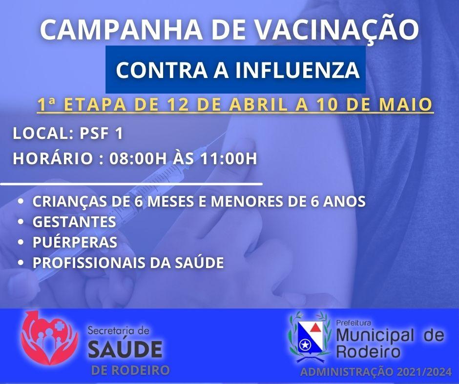 Primeira etapa de vacinação contra influenza - 15/04/2021